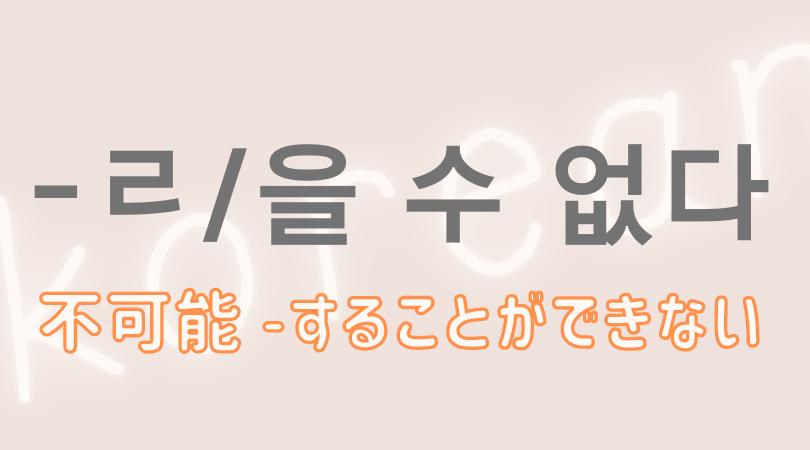 韓国語 ハングル 可能 文型 ㄹ 을 수 없다  することができない 意味 活用 例文